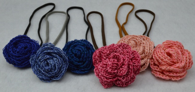 Flower Headband Blue and Pink 2